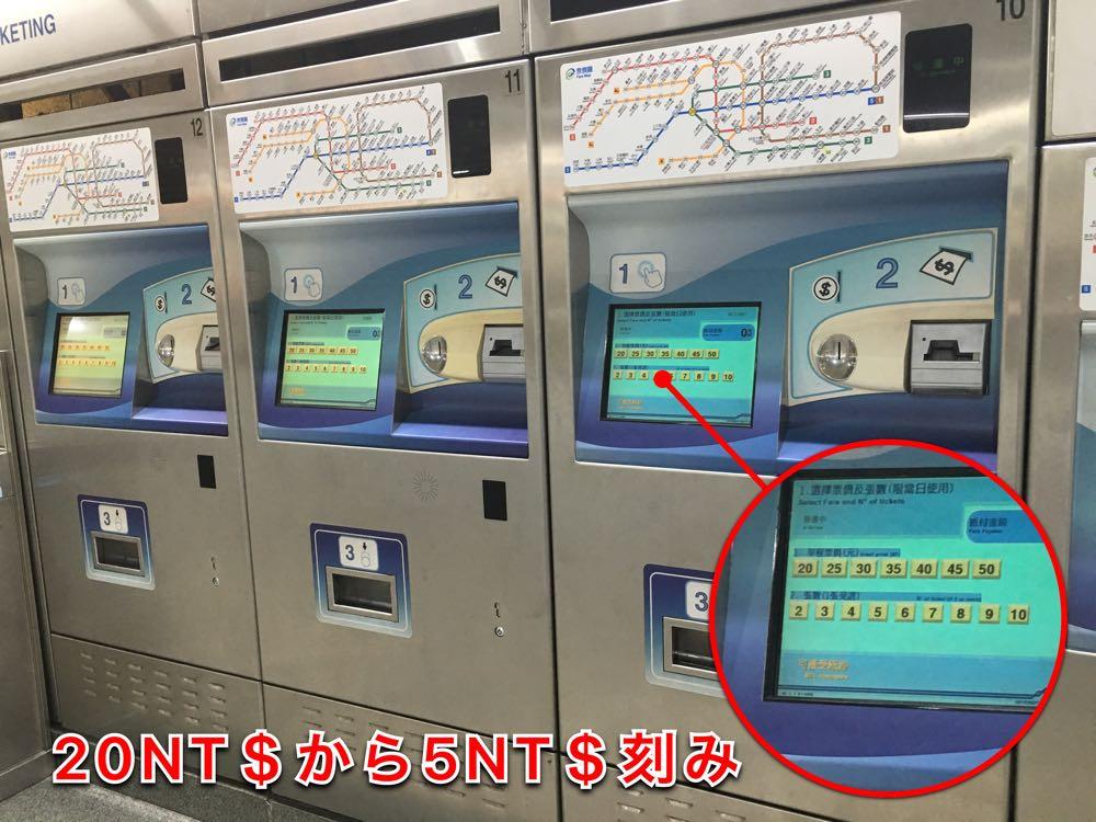 台湾MRTの切符販売機